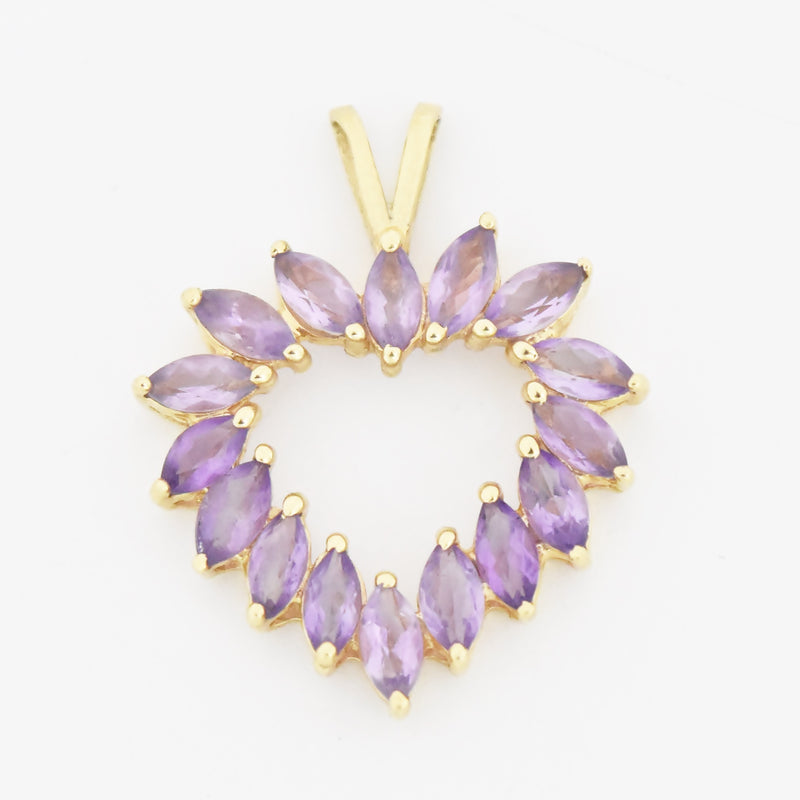 10k Yellow Gold Estate Amethyst Open Heart Pendant
