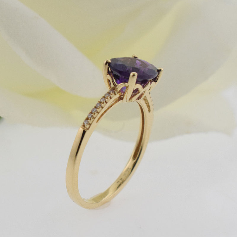 14k Yellow Gold Estate Open Band Amethyst & Diamond .14 tcw Ring Size 6.75