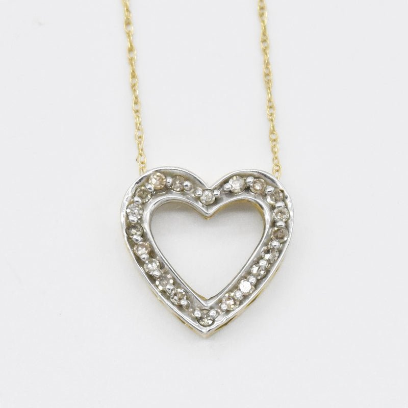 "10k Yellow Gold Estate 19.5"" Open Diamond Heart Necklace"
