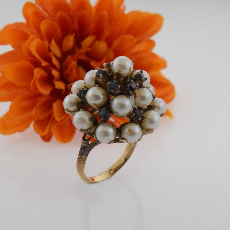 10k Yellow Gold Antique Silk Siam Sapphire & Pearl Tier Ring Size 7