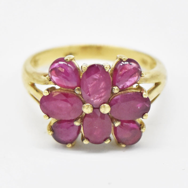 10k Yellow Gold Estate Ruby Cocktail Ring Size 8