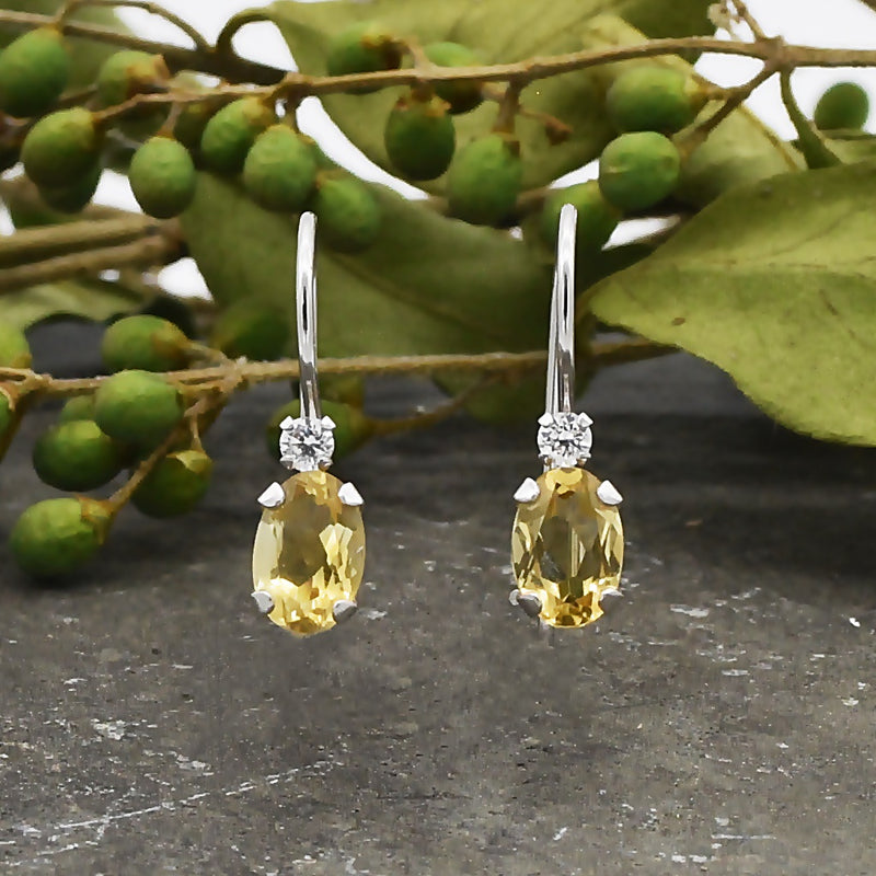 10k White Gold Estate Citrine & CZ Wire Back Earrings