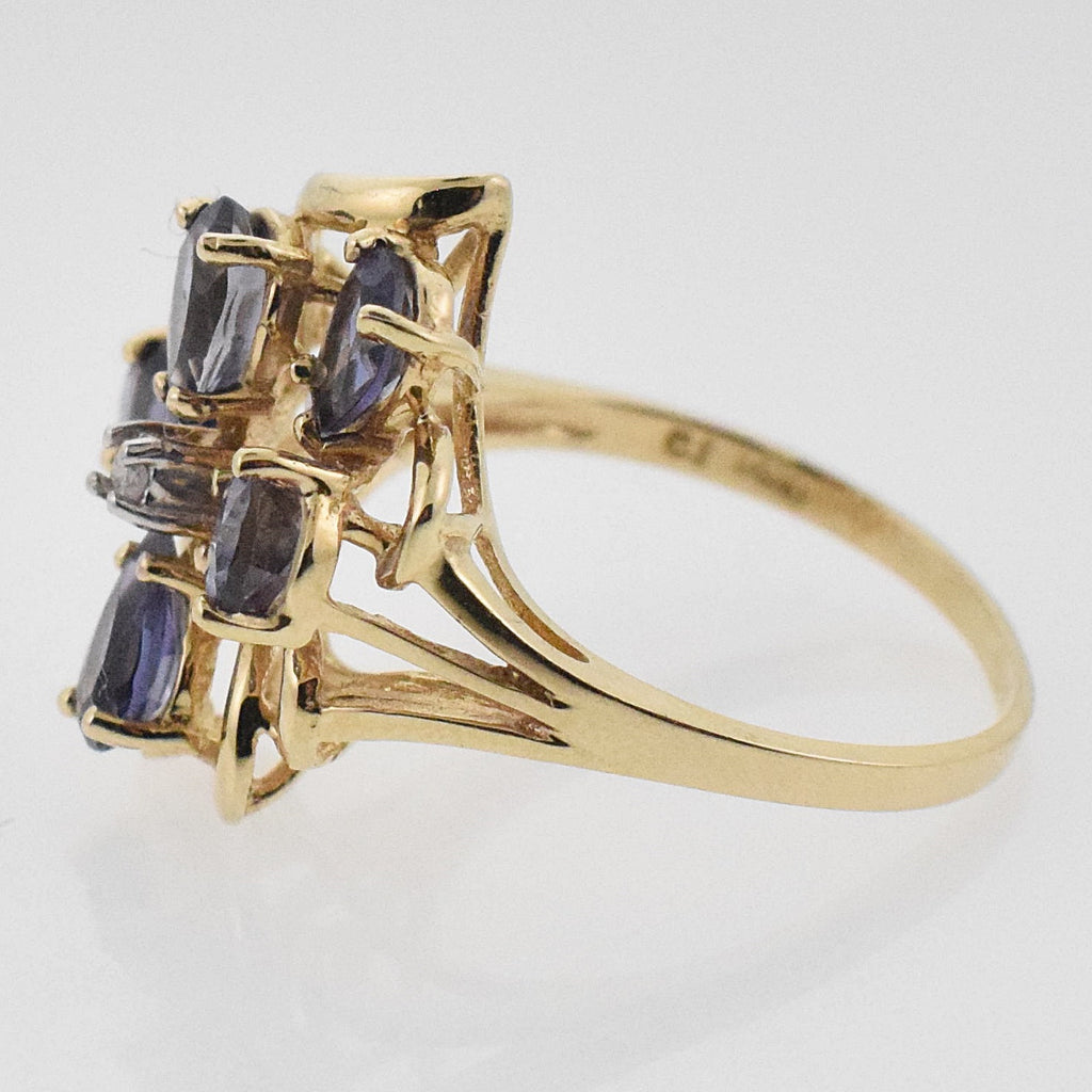 14k YG Open Work Tanzanite & Diamond Flower Ring Size 7.25