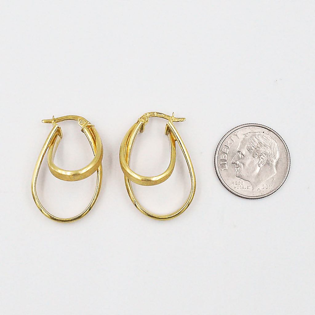 14k Yellow Gold Estate Double Intertwined Oval Hoop Earrings