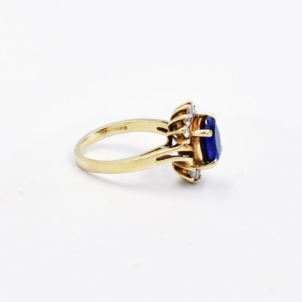 14k Yellow Gold Swirl Open Band Sapphire & Diamond Ring Size 6