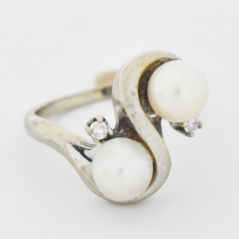 14k White Gold Vintage Double Pearl & Diamond Swirl Ring Size 6