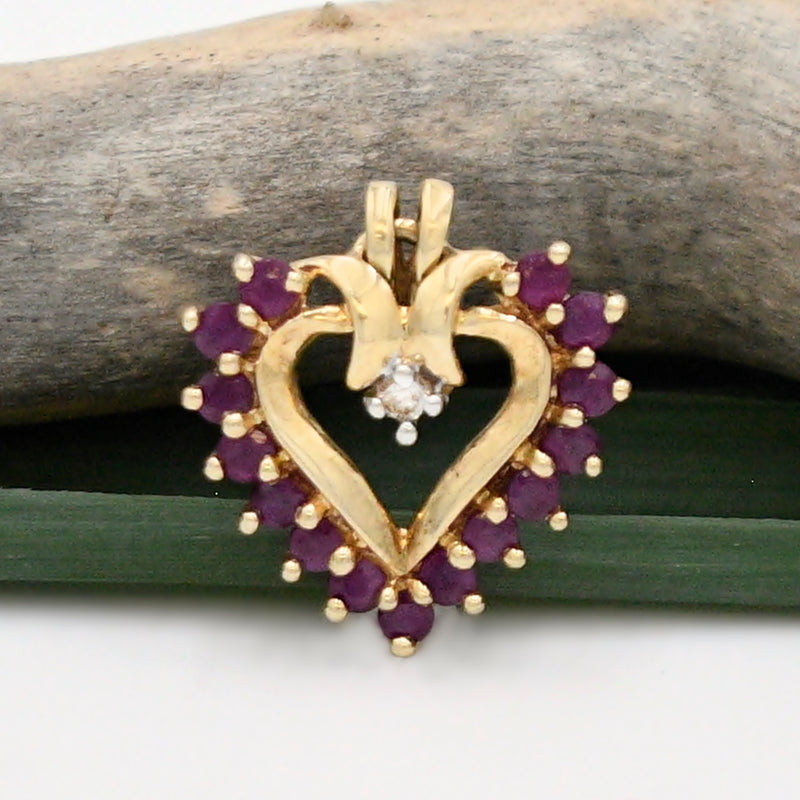 10k Yellow Gold Estate Open Ruby & Diamond Heart Love Pendant