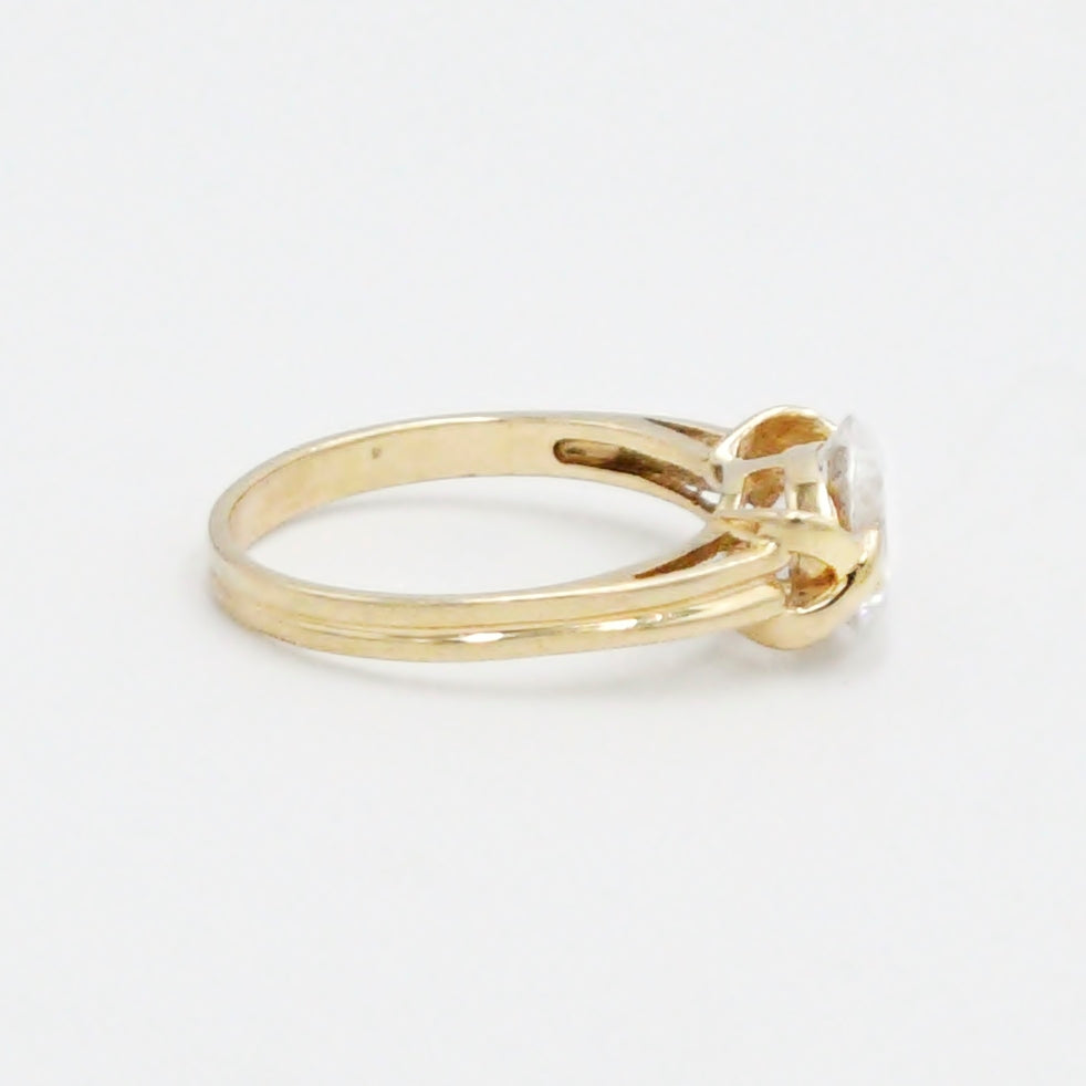 14k Yellow Gold Estate Open Band CZ Gemstone Ring Size 7