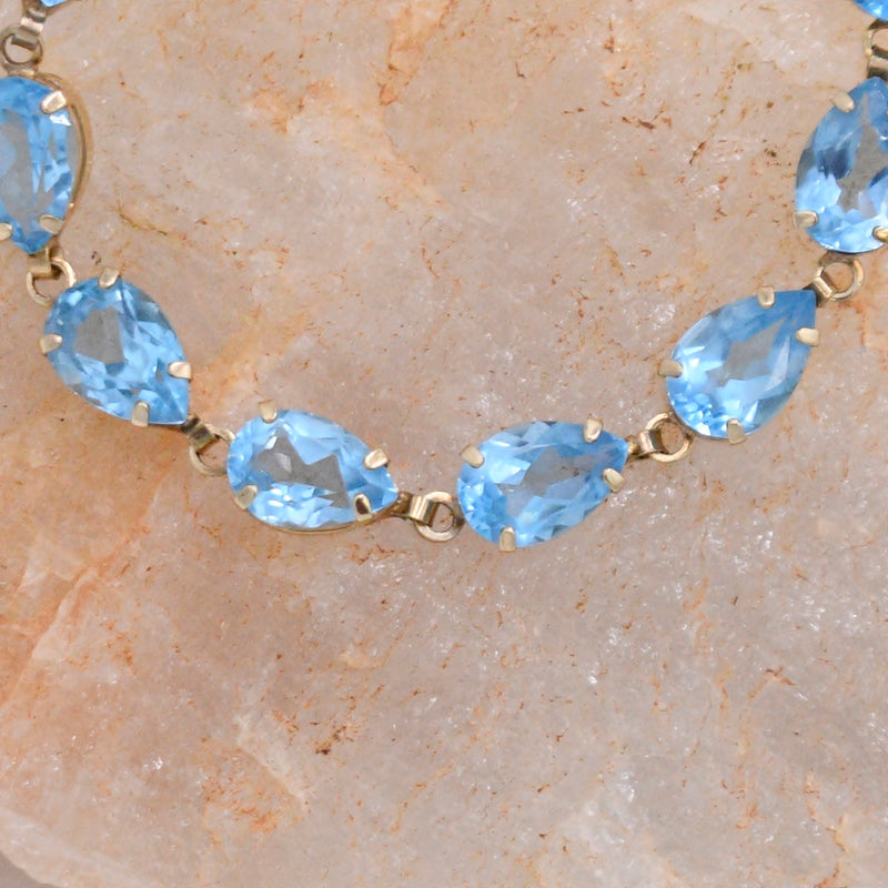 "10k Yellow Gold Estate Teardrop Blue Topaz Link Bracelet 7 1/2"" Long"