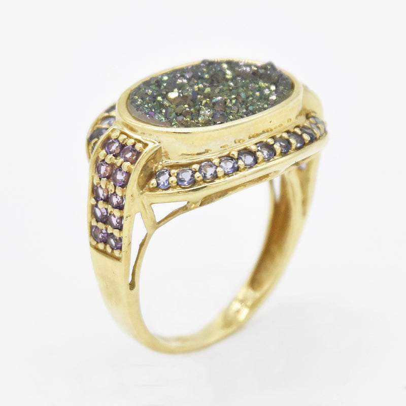 10k Yellow Gold Estate Fancy Amethyst & Tanzanite Ring Size 6.5