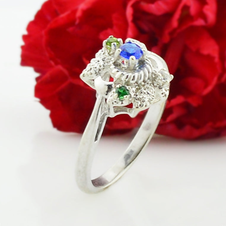 10k White Gold Estate Ornate Multi-Colored Gemstone Ring Size 9.25