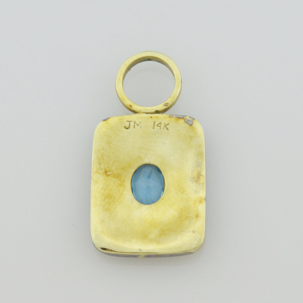 14k Yellow Gold Estate Brushed Gold Blue Topaz Pendant