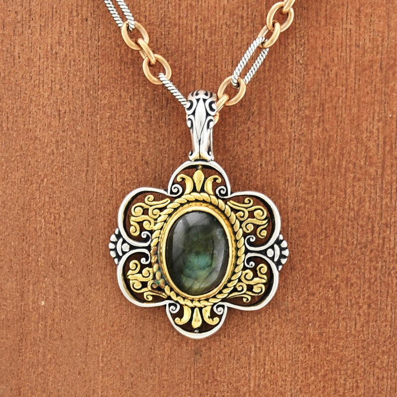Sterling & Brass Carolyn Pollack Labradorite Cabochon Link Necklace
