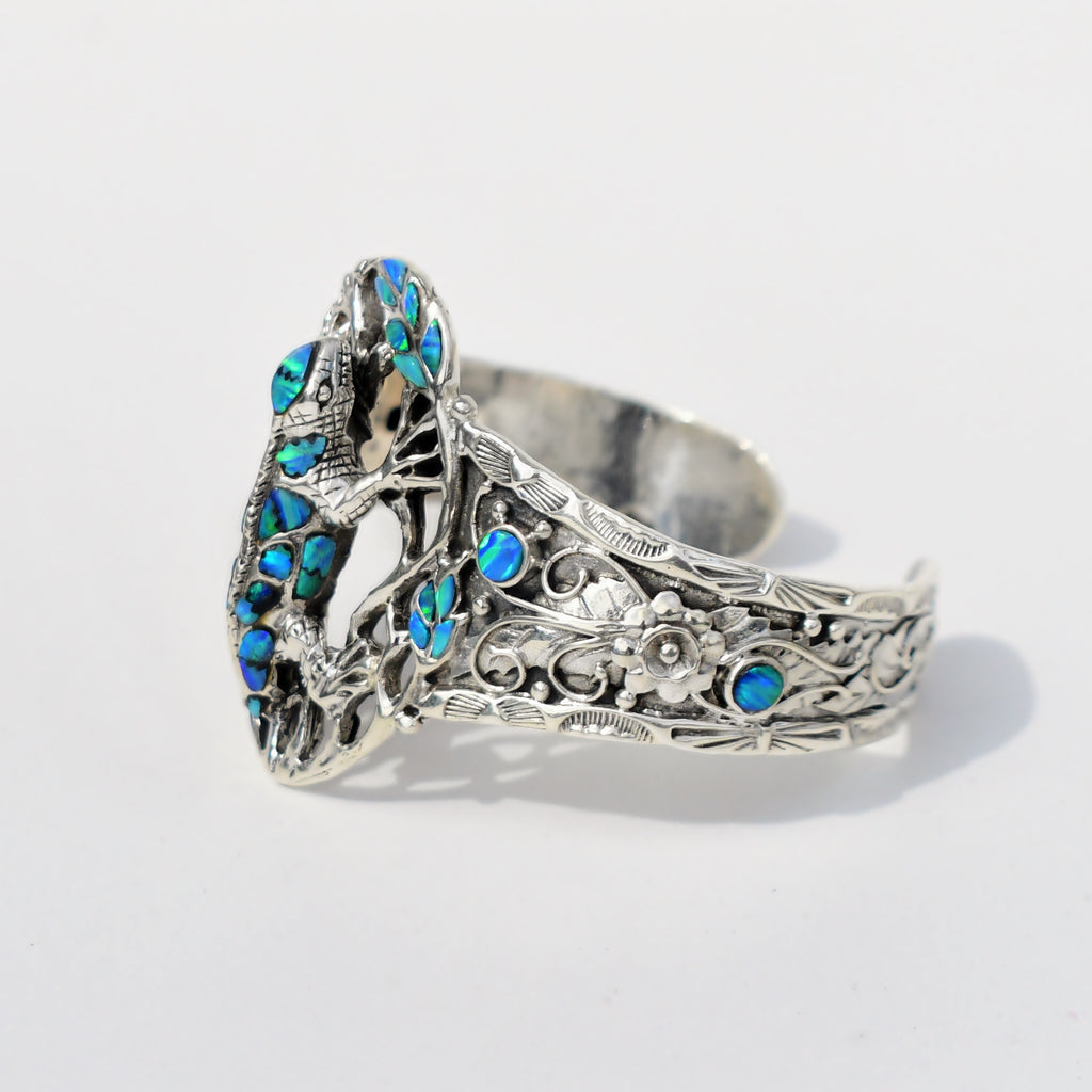 Sterling Silver 925 Open Wrk Fire Opal Gem Lizard Animal Cuff Bracelet