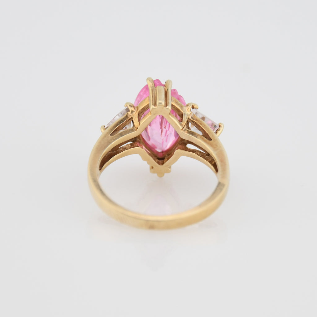 10k Yellow Gold Estate Pink & White CZ Ring Size 6.75