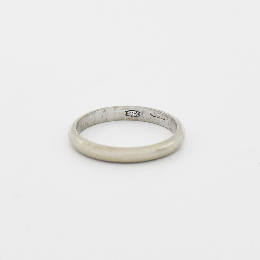 10k White Gold Antique Wedding Band/Ring Size 5.5