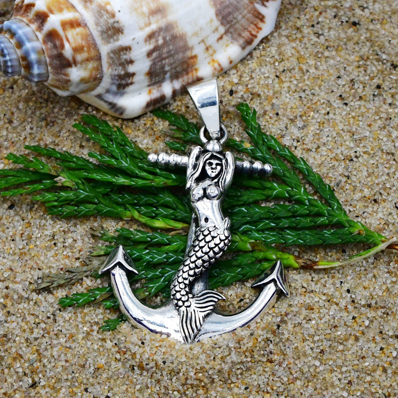 Sterling Silver 925 Anchor & Mermaid Drop/Dangle Nautical Pendant