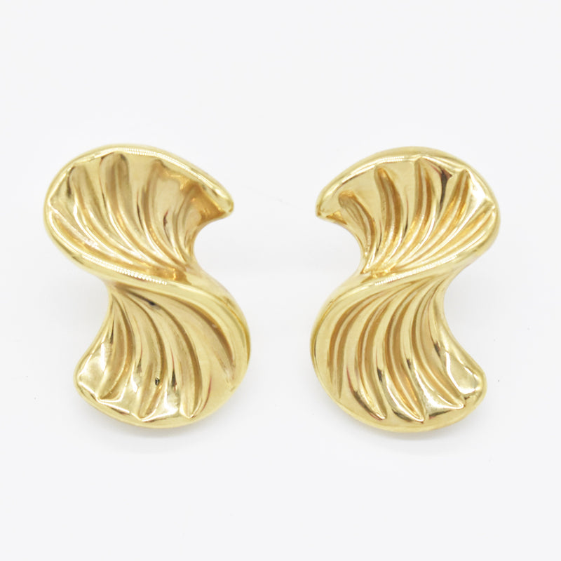 10k Yellow Gold Estate Swirl Post Dangle/Drop Earrings