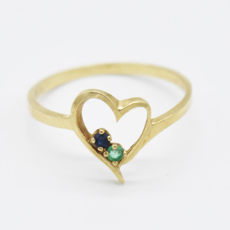10k Yellow Gold Open Emerald & Sapphire Open Heart Ring Size 6.75