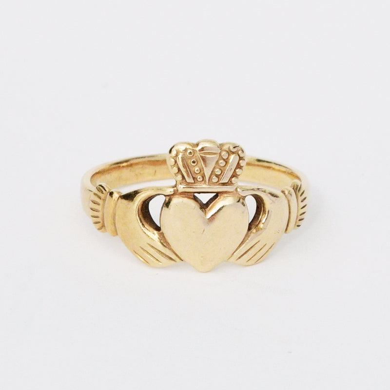 9k/9ct Yellow Gold Antique Claddagh/Celtic Irish Pride Ring Size 10.75