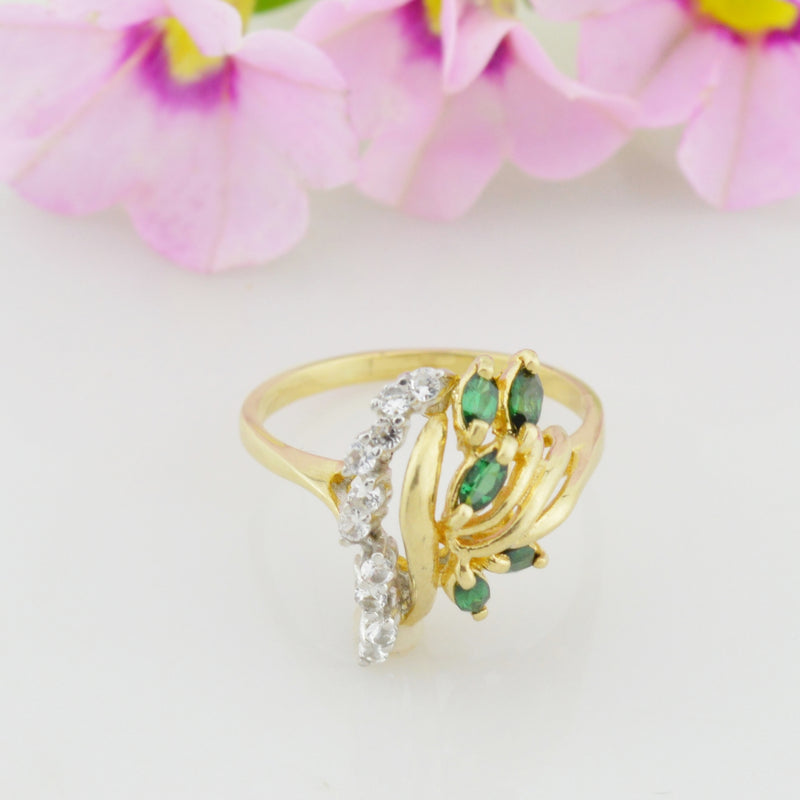 10k Yellow Gold Estate Emerald & White Quartz Multistone Ring Size 9.75