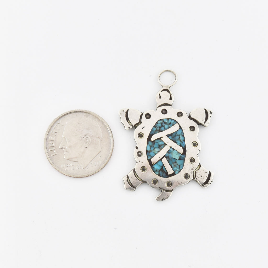 Sterling Silver 925 Native American Turquoise Carved Turtle Pendant