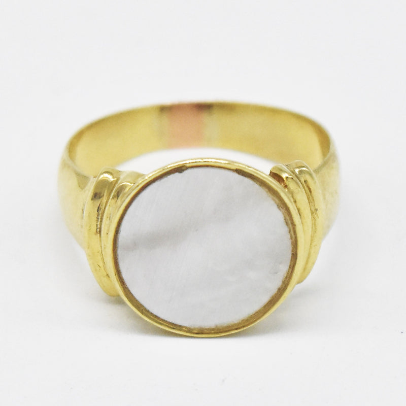 10k Yellow Gold Estate Mother of Pearl Circle Ring Size 7.75