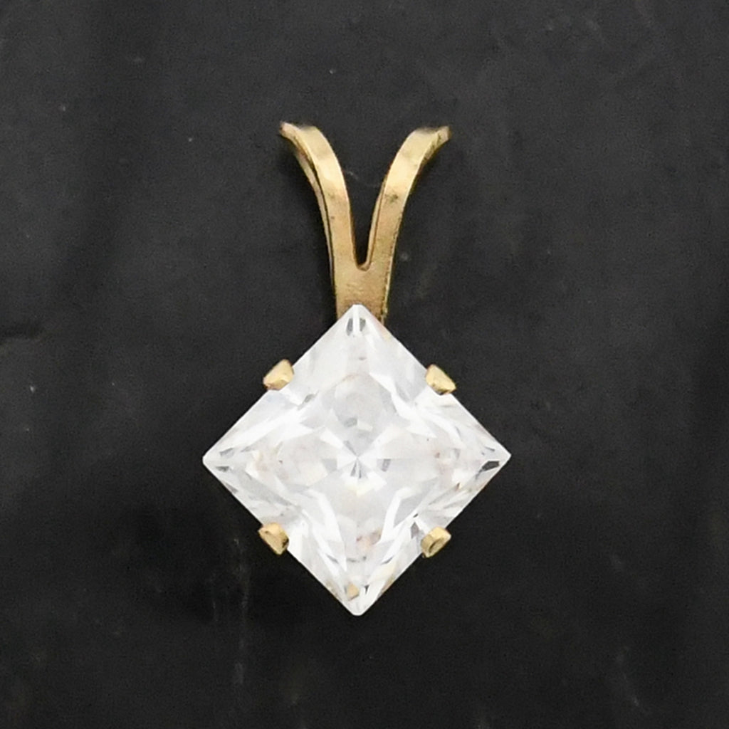 14k Yellow Gold Estate CZ/Cubic Zirconia Pendant
