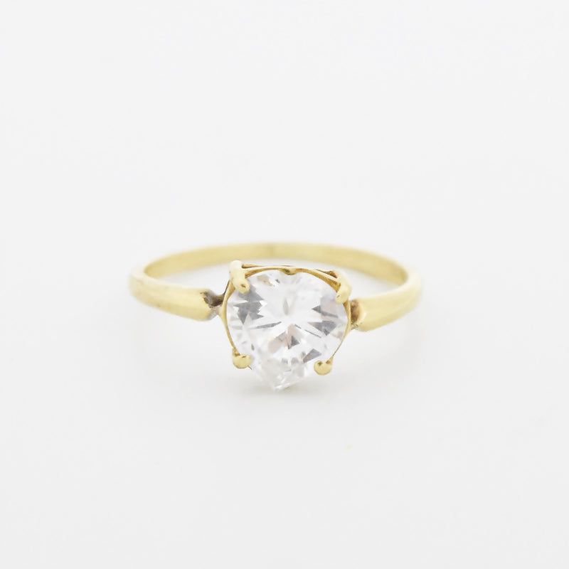 10k Yellow Gold Estate CZ Heart Shape Pinky Ring Size 2.75