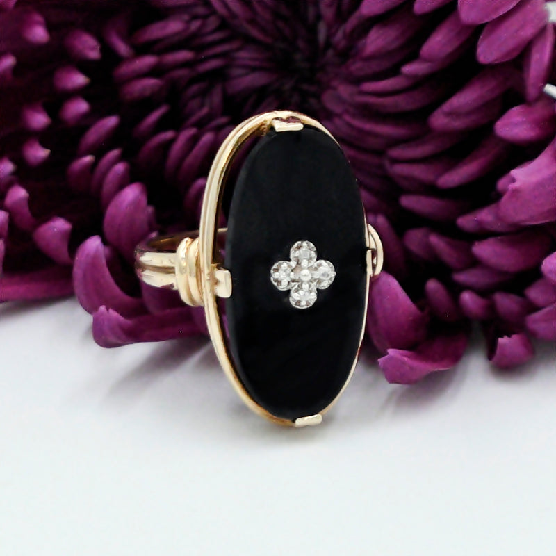 10k Yellow Gold Vintage Black Onyx & Diamond Ring Size 7.75