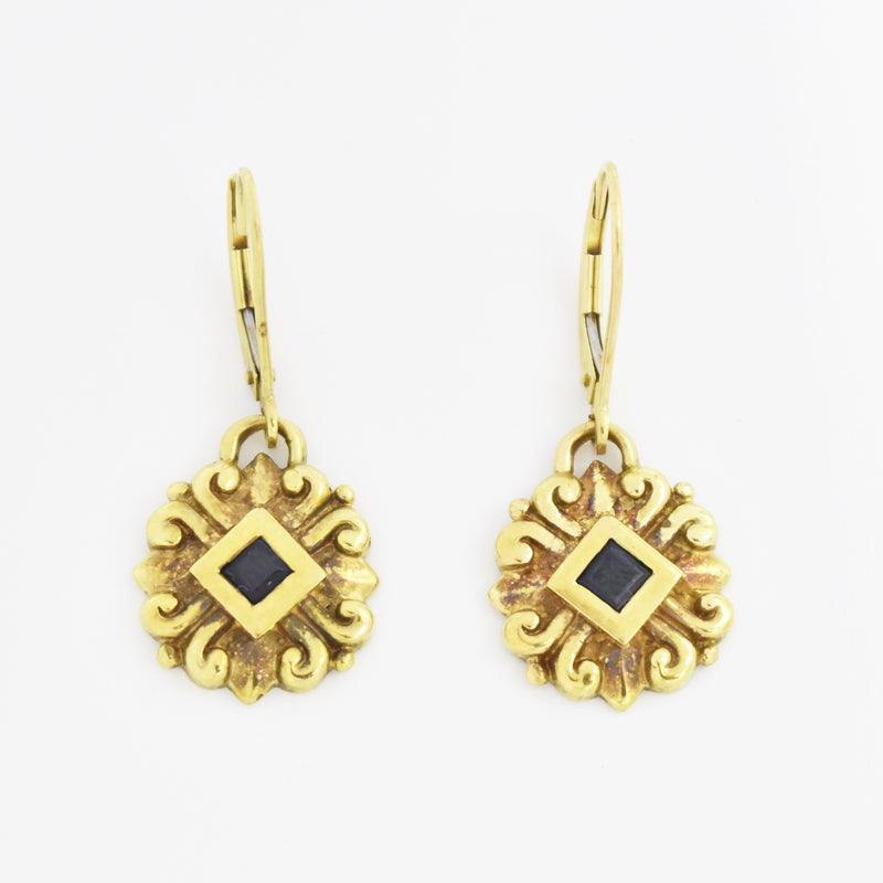 14k Yellow Gold Estate Ornate Sapphire Dangle Lever Back Earrings