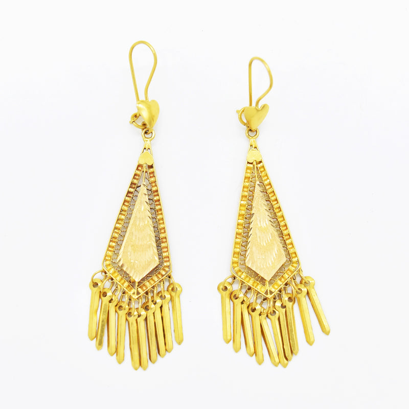 18k Yellow Gold Estate Diamond Cut Dangle/Drop Tassel Earrings