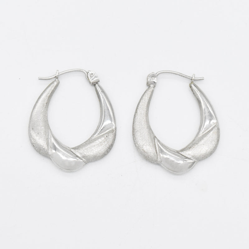 "14k White Gold Estate 1"" Textured Hoop Earrings"