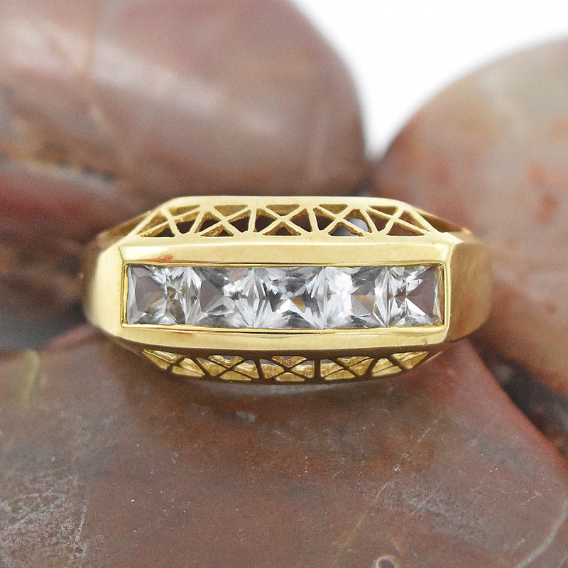 14k Yellow Gold Estate Filigree 5 Stone Aquamarine Ring Size 10