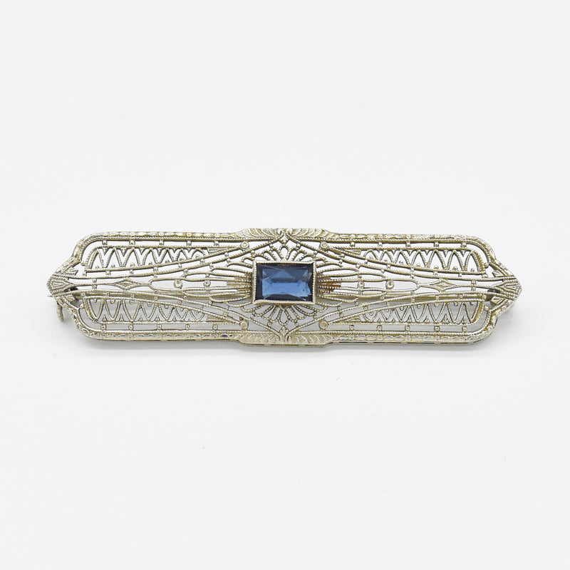 "10k White Gold Antique Filigree Sapphire 2"" Bar Pin"