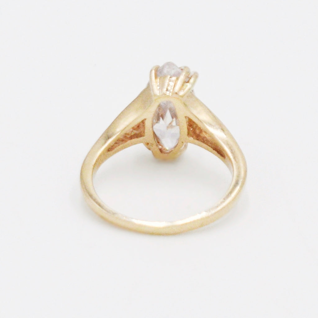 14k Yellow Gold Estate CZ Gemstone Open Band/Ring Size 7