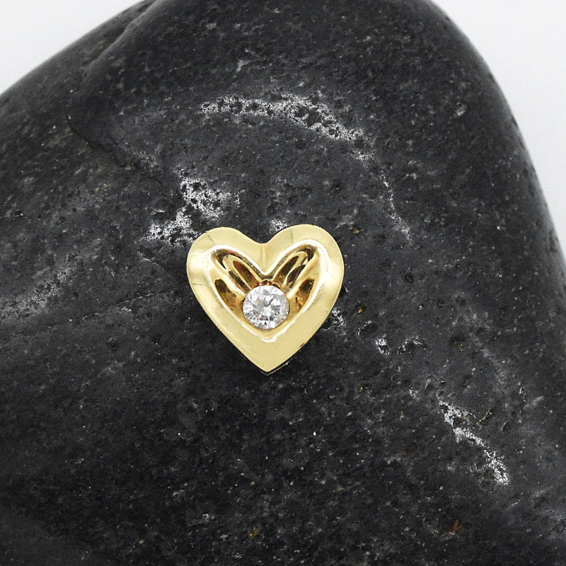 10k Yellow Gold Estate Diamond Heart Charm/Pendant