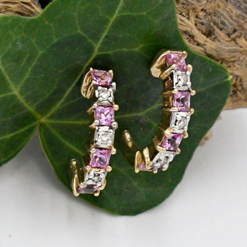 10k Yellow Gold Estate Ruby & Diamond 1/2 Hoops/Hoop Earrings