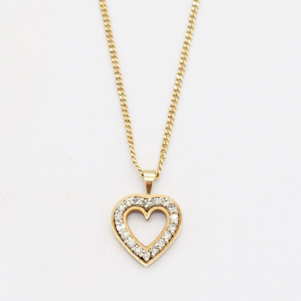 "14k Yellow Gold Estate 17 3/4"" Open Diamond 0.18 tcw Heart Necklace"