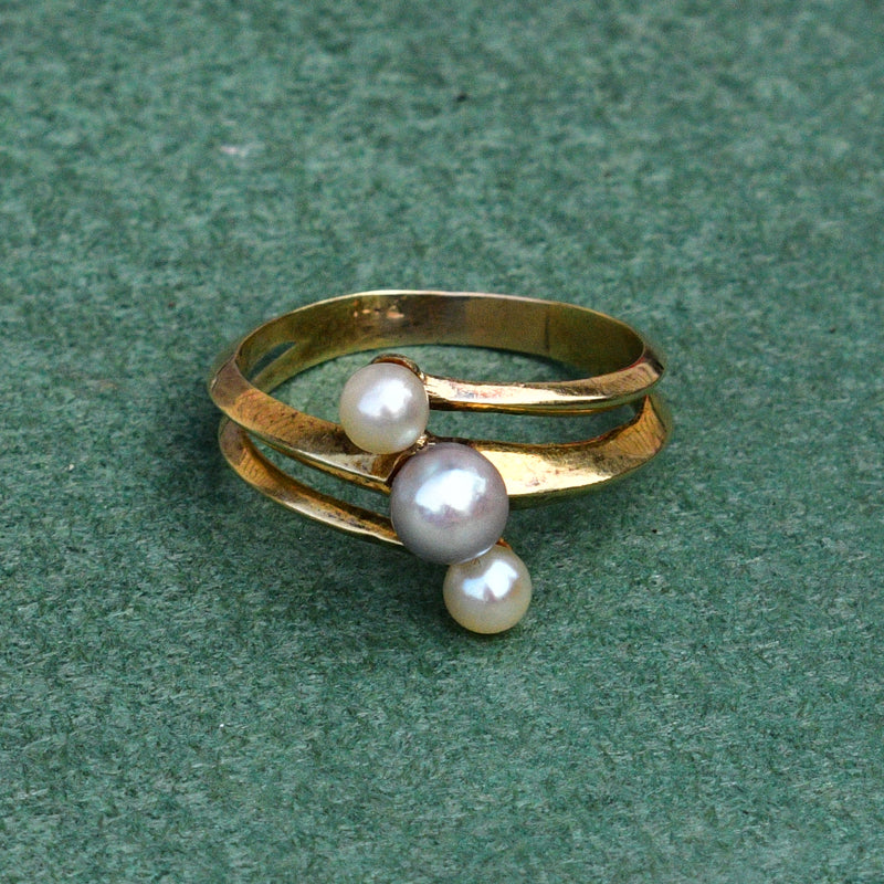 14k Yellow Gold Estate 3/Three Pearl Gemstone Wrap Ring Size 9.25