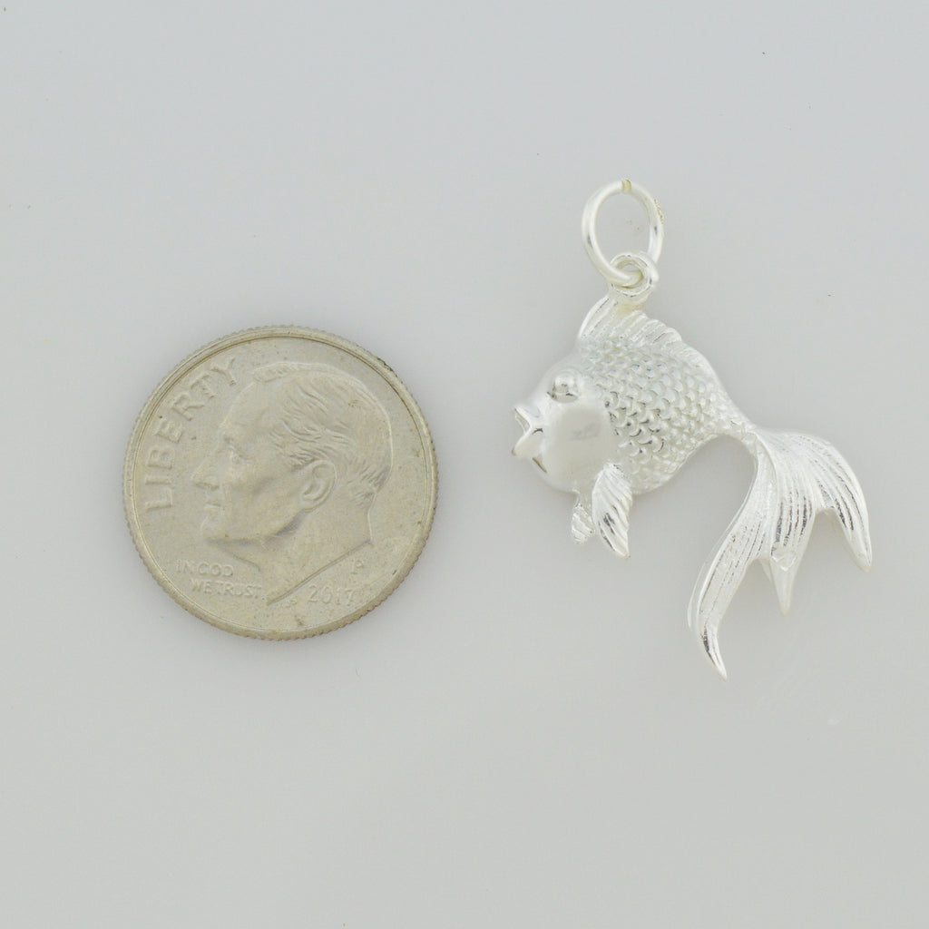 NEW Sterling Silver 925 Fancy Goldfish/Carp Fish Pendant/Charm