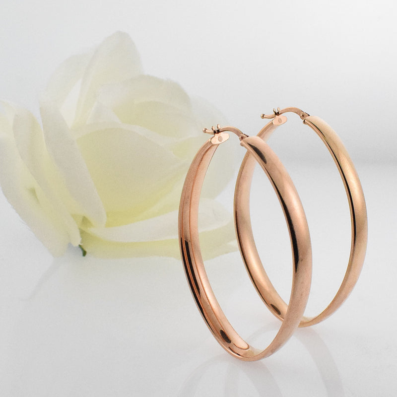 "14k Rose Gold Estate 2"" Oval Hoop Earrings"