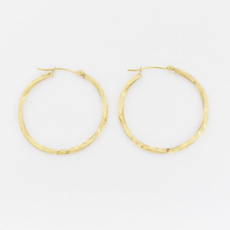 "14k Yellow Gold Estate 1.25"" Textured Hoop Earrings"
