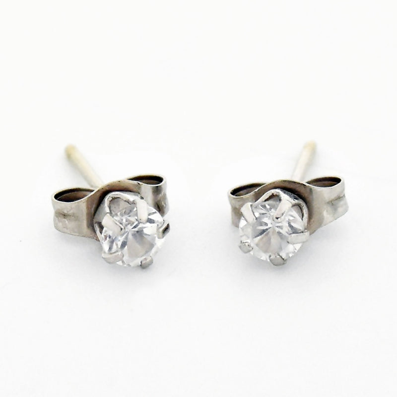 14k White Gold Estate White Gemstone Post Earrings
