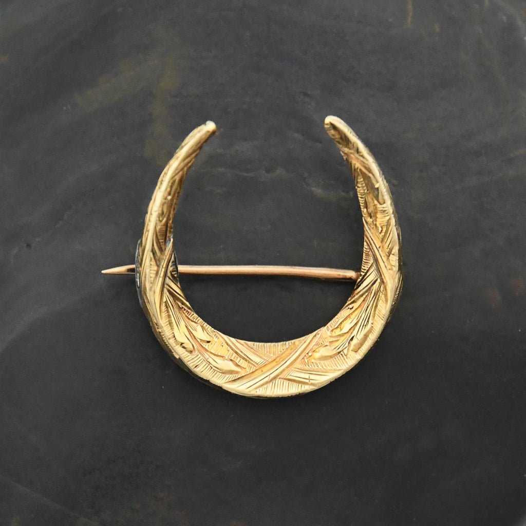 14k Yellow Gold Antique Ornate Horseshoe Pin/Brooch