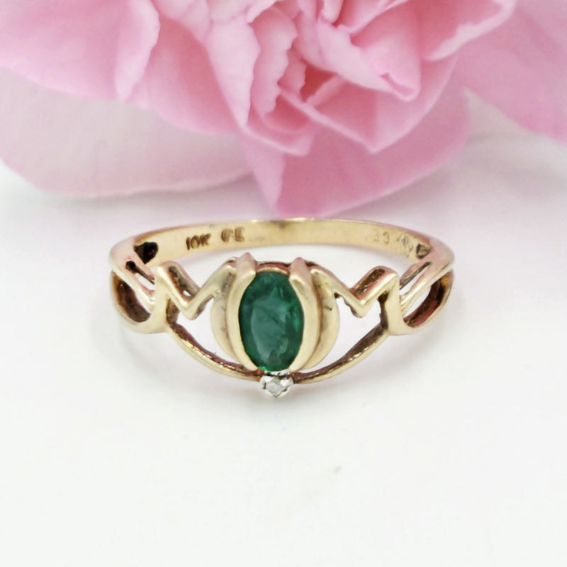 10k Yellow Gold Open Mom Appreciation Swirl Emerald & Diamond Rng Sz 7