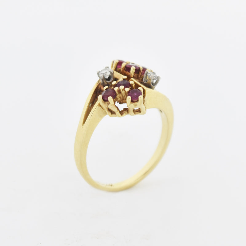 14k Yellow Gold Open Work Diamond & Ruby Cluster Ring Size 6.75