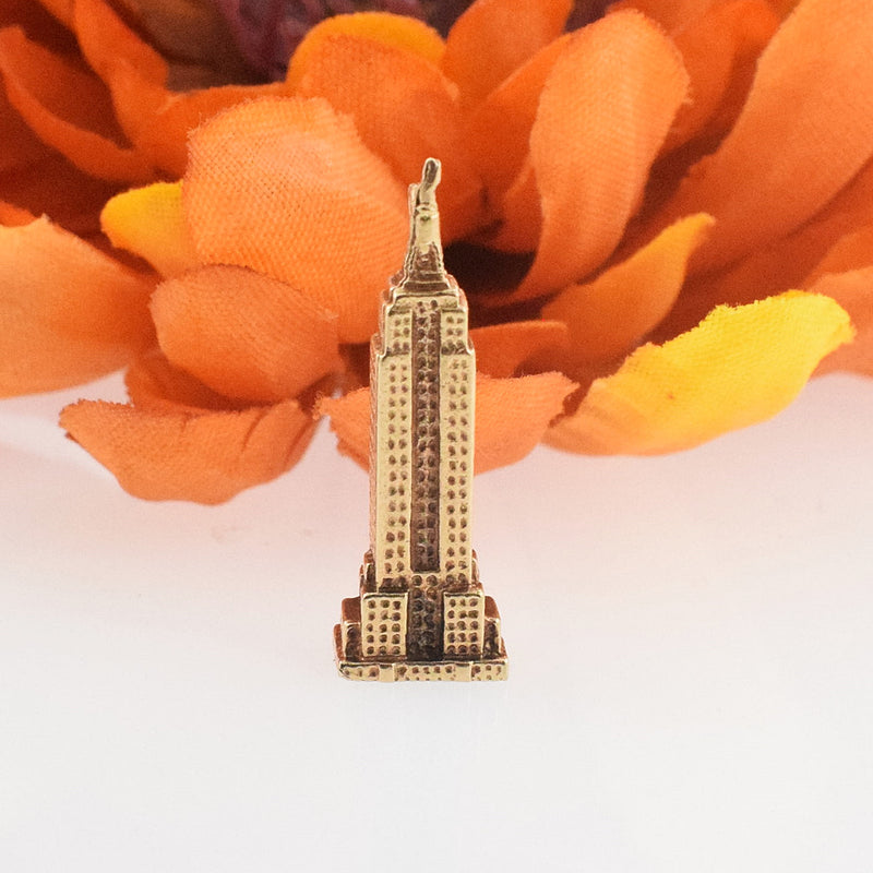 14k YG Textured Empire State Building Charm/Pendant