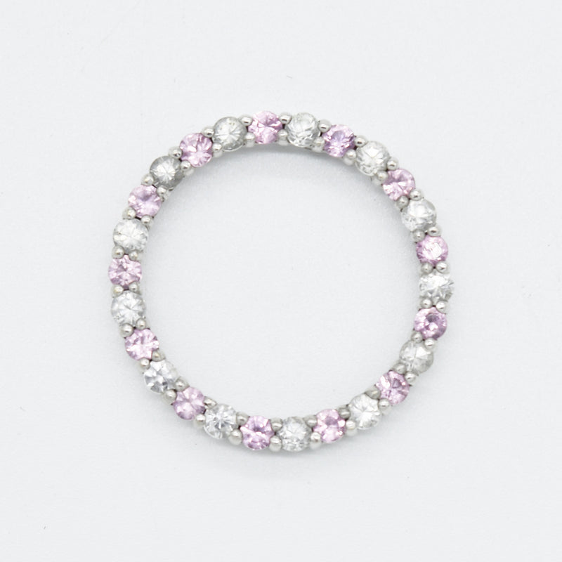 10k White Gold Estate Pink & White Sapphire Circle Pendant
