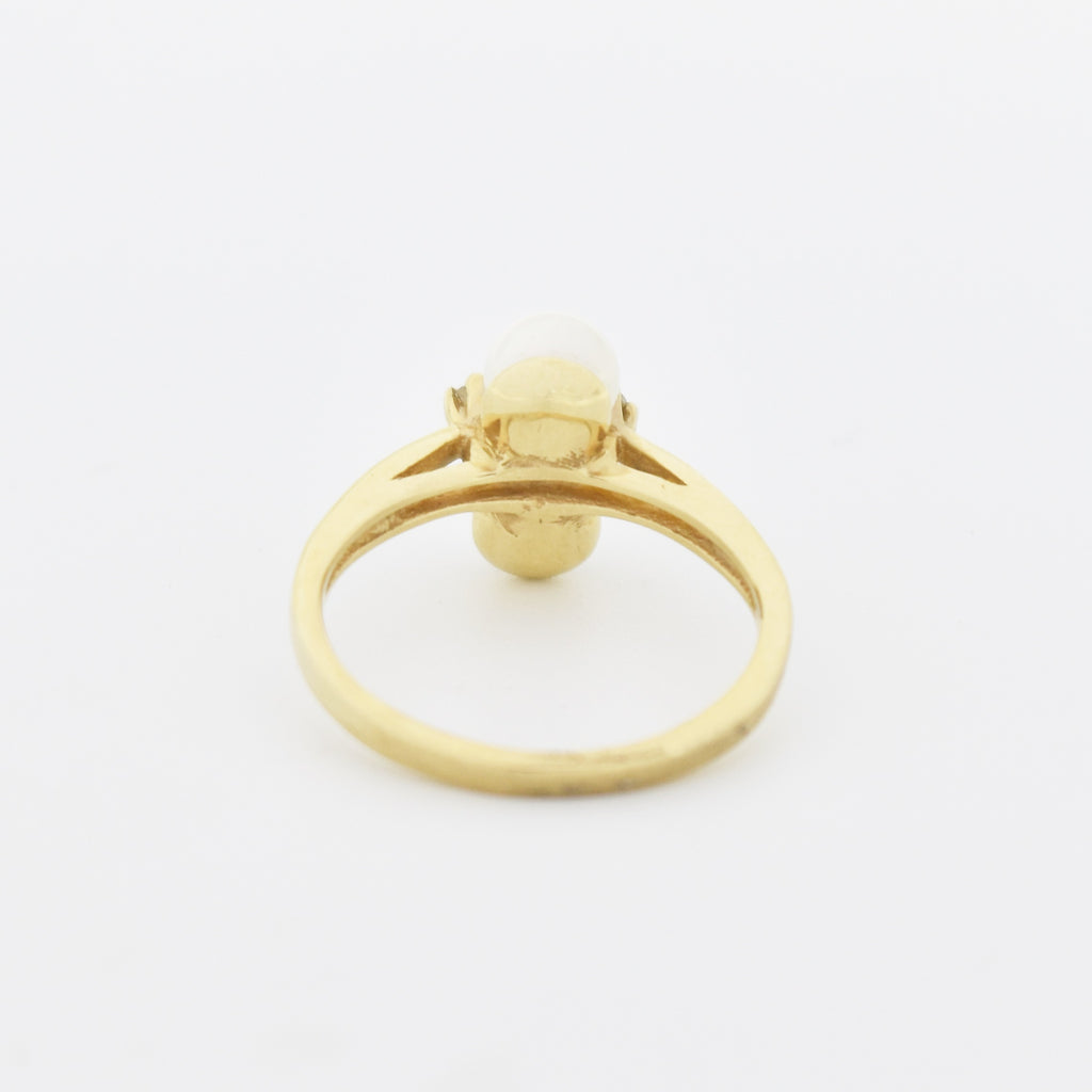 10k Yellow Gold Estate Double Pearl & Diamond Ring Size 6